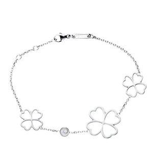 Chopard Happy Diamonds White Gold and Diamond Clover Charm Bracelet 859421 New