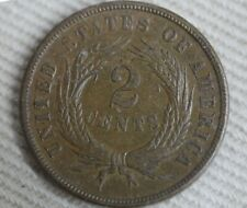 1865 Two Cent Piece 2C Union Shield United States Currency Nice Coin