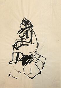 Vintage expressionist woman portrait ink painting