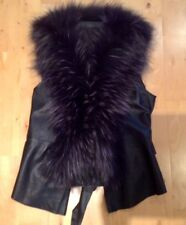 Womens Designer Black Leather Top with Fur UK 10 Medium