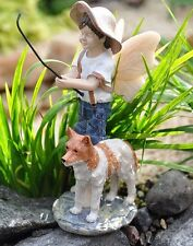 Miniature Fishing Boy Oliver w Dog  WS 0123  Fairy Garden Diorama