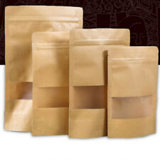 100PCS Zip Lock Packaging Stand Up Food Pouches Brown Window Kraft Paper Bags