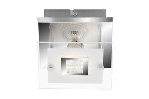 LED Deckenleuchte Chrom  GU10 Glas Metall 12 x 12 x 9cm Eckig
