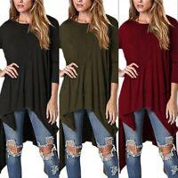 Women Long Sleeve Asymmetric Loose Baggy Casual Pleated Tops T-Shirt Blouse Plus