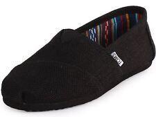 Toms Classic Black Burlap Womens Canvas Espadrilles Shoes Slipons