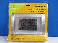 Tempus TC17WRC Radio Controlled LCD Digital Clock New in The Box Silver