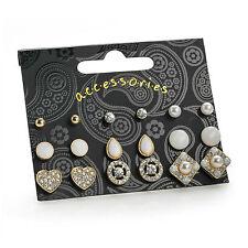Nine Pairs Gold Colour White Tone Stud Earring Set Ladies Fashion Jewellery