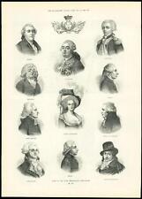 1889 antica stampa persone importanti 1789 LAFAYETTE Maria Antonietta NECKER (235)