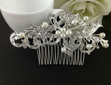 Bridal Wedding Hair Jewellery Accessories Clips Pearls Crystal Clip-in-Pin Comb