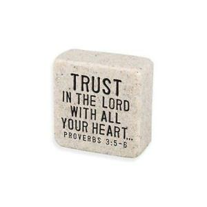 Trust the Lord Scripture Stone Plaque Desk Sign Inspirational Office Home Decor