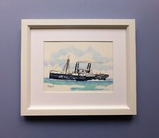 "Framed Original Watercolour Line and Wash Steam Paddle-wheeler Tug Boat ""Yatala"""