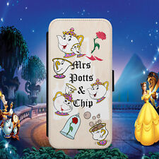 MRS POTTS CHIP BEAUTY AND BEAST FLIP WALLET PHONE CASE FOR IPHONE SAMSUNG HUAWEI