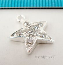 1x BRIGHT STERLING SILVER CZ CRYSTAL STAR DANGLE PENDANT CHARM 12mm #2313