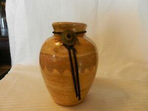 "Light Brown Tone Pottery Flower Vase 6"" Tall 2.5"" Opening Gloss Glaze"