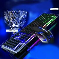 Wired Gaming Keyboard Mouse Set Rainbow LED Backlit Mechanical for PC Laptop PS4