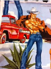 AH258 Sexy Pin Up Cowboy Wrangler Hot Hunks Western Rancher Cotton Quilt Fabric