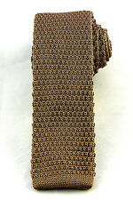 Dark Mocha Solid Knit Men's Necktie Skinny 2' Fashion Knitted Square End Tie New