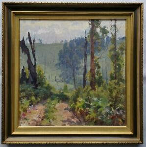 Original Framed Oil Painting - Glimpse Through the Bush by William Rowell