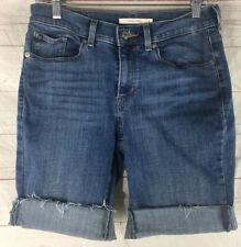 Levis Women's Cut Off Jean Shorts Size 4 Cuffed Long Bermuda Raw Edge Stretch