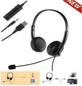 Wired Stereo Headset Trucker Driving Office Headphone Noise Cancelling With Mic