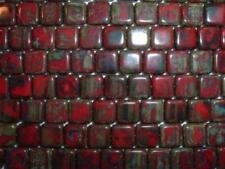 AL90 CZECH 9mm Flat SQUARE Glass Beads-RED PICASSO-25