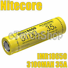NiteCore 1x 3100mAh 35A 3.7v IMR 18650 Rechargeable Unprotected Battery w/o Box