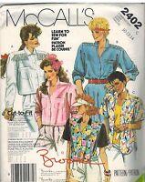 2402 UNCUT Vintage McCalls Sewing Pattern Misses Button Front Shirt 10 - 14 OOP