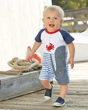 Mud Pie Baby Boys Whale Raglan One Piece 1032326 Shortall Romper Outfit Size 3-6
