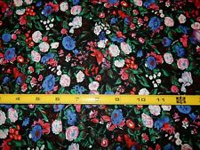 """32"""" Blue Pink Red Calico Floral Black Background Fabric Cotton Craft Quilt"""