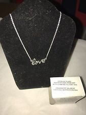 Avon Sterling Silver Inspirational Pendant Necklace NIB Diamond Accent Love 2013