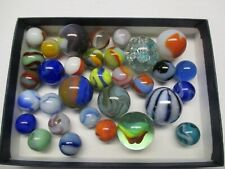 Lot of 32 Vintage,  Glass Marbles,  Different Sizes,  Beautiful Colors