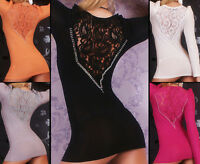 Sexy Women's Knitted Mini Dress Long Lace Jumper Long Sleeve Top Size 8,10,12