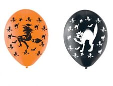 Witch & Black Cat Halloween Balloons black orange Helium or Air FREE P&P