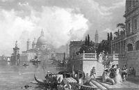 VENICE GRAND CANAL Gondola Salute Church Palaces ~ Old 1833 Art Print Engraving