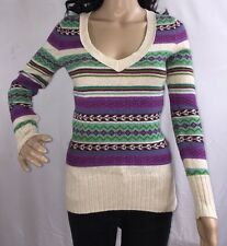 Old Navy Sweater Turquoise Purple Ivory Patterned Striped Design Wool Blend - XS