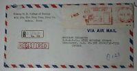 Korea Airmail Cover 1982 Registered Meter Postage Label Slogan Cancel Parcel