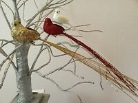 Long Tail Glitter Bird Decoration Christmas Clip On Dove Tree Wedding White Red