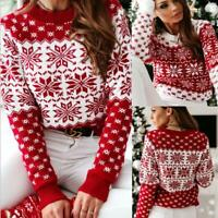 Womens Xmas Jumper Elastic Tops Snowflake Daily Christmas Sweater Warm