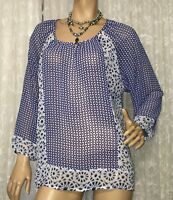 ZEST WEEKEND SIZE 18 BATIK PRINT TOP AS NEW
