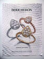 PUBLICITE-ADVERTISING :  BOUCHERON Serpent Boheme  2016 Bijoux,Joaillerie