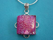 """925 Sterling Silver Pendant With Pink Titanium Druzy On 20"""" Chain    (nk1686)"""
