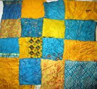 LOT PURE SILK Antique Vintage Sari Fabrics REMNANT 20 pcs 5 inch SQUARES #ABDBX