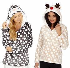 Nueva camiseta para mujer con capucha Snuggle Lounge Top Supersoft Pingüino O Reno S M L XL