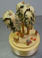 Vecchia MECCANICA OROLOGIO giocattolo Nano leprecani motivo Erzgebirge arte popolare lattina di gioco