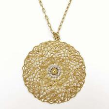 La Vie Parisienne Catherine Popesco Filigree Medallion Crystal Pendant Necklace