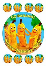 BANANAS ROUND CAKE PERSONALISED 7.5 + 8 EDIBLE ICING FROSTING TOPPER