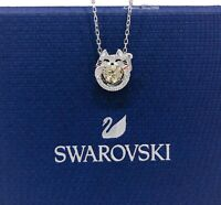 Authentic SWAROVSKI Rhodium Sparkling Dance Lucky Cat Pendant Necklace 5515438
