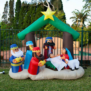 180cm Height Inflatable Nativity Scene with LED Light for Christmas Decoration