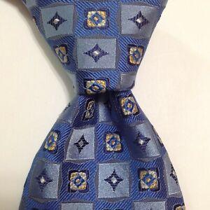 ROBERT TALBOTT Carmel Men's Silk Necktie Luxury Geometric Blue/Yellow PERFECT