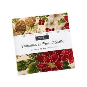 Moda Fabrics Charm Pack - Poinsettias & Pine Metallic. 42 x 5 inch squares